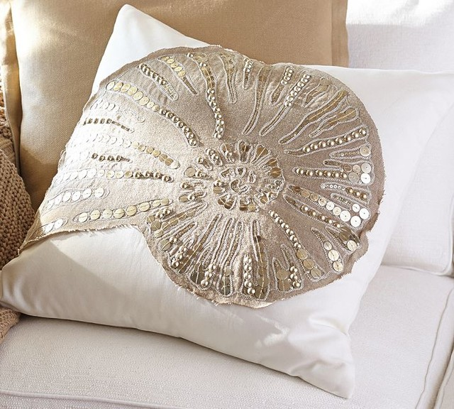Beach Style Pillows : Sequin Coastal Embroidered Pillow Cover - Beach Style - Decorative Pillows - sacramento - by ...