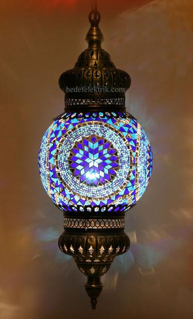 Blue Mosaic Turkish Style Colourful Pendant Lighting 20cm