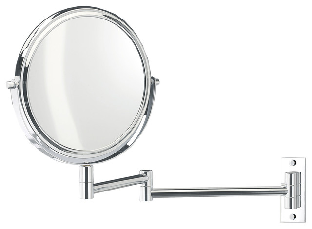 Wall Mounted Magnifying 2 Arm Swivel Mirror Chrome