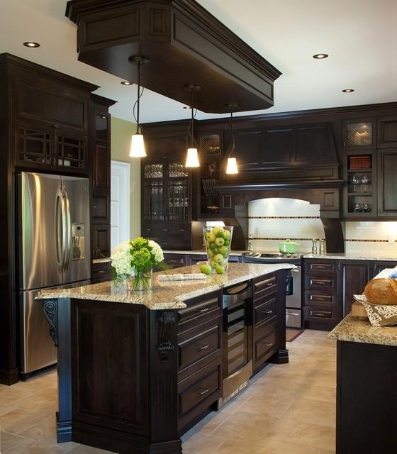 Armoires de cuisine classique en bois de pin massif