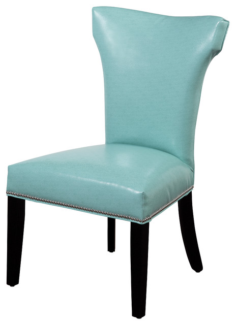 nelson nailhead parsons chairs turquoise set of 2