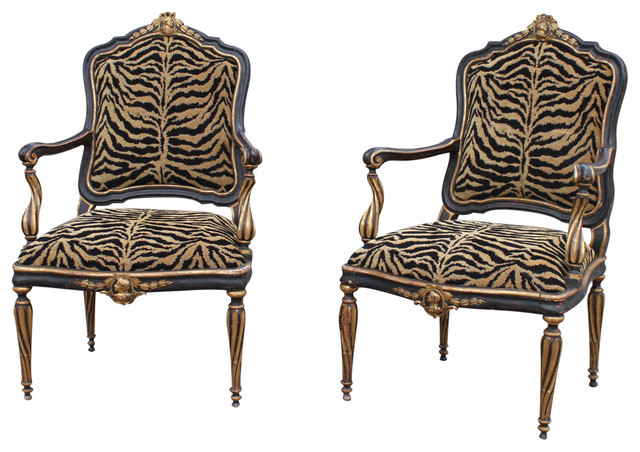 pair of italian antique black and gold painted armchairs midcentury armchairs and accent. Black Bedroom Furniture Sets. Home Design Ideas