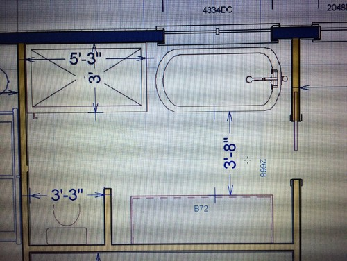Master bath layout help please for Best tv size for 10x10 room