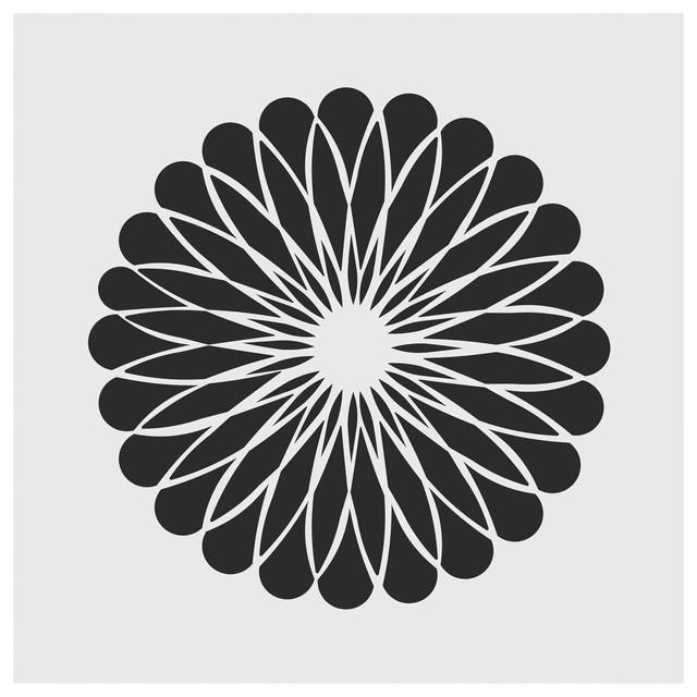 Geometric Flower Stencils : Geometric flower stencil small contemporary wall