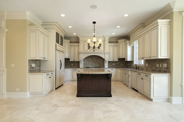 Beige kitchen floor tiles and marble backsplash for Traditional kitchen flooring