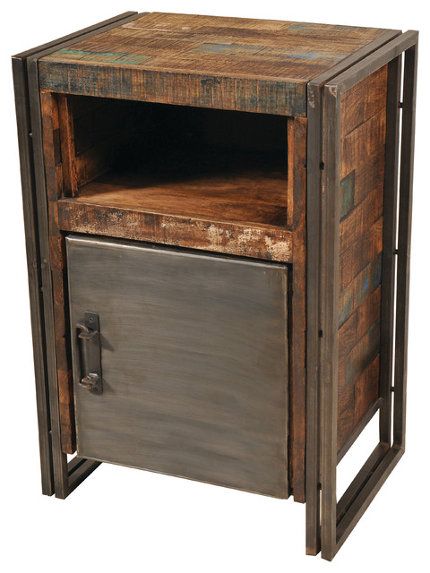 Reclaimed Wood And Metal 1 Door Cainet - Accent Chests And Cabinets ...