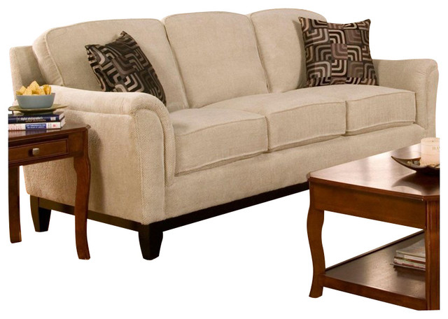 Coaster Carver Sofa With Exposed Wood Base In Beige