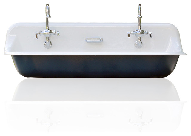 "Large 48"" Kohler Farm Sink Cast Iron Porcelain Trough Sink Package Hague Blue - Farmhouse ..."