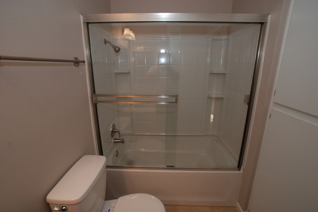 Fiberglass 4 Piece Combo Tub Shower With Brushed Nickel