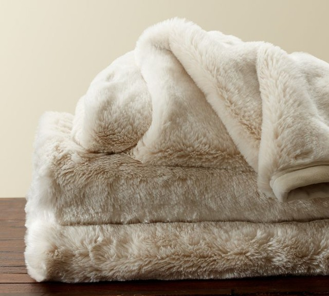 Faux Fur Throw Ivory Contemporary Throws By Pottery