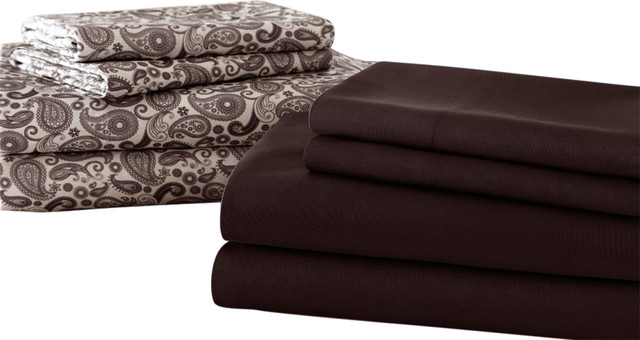 Solid And Print 8 Piece Microfiber Sheet Set Cal King
