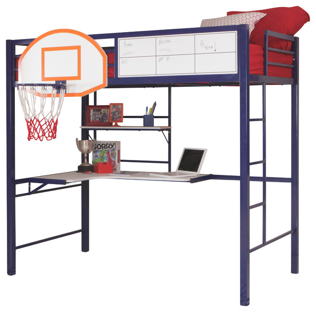 youth hoops metal basketball blue bunk loft bed w workstation desk