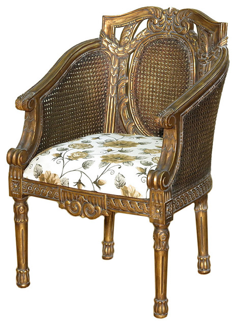 Antiqued Gold Rattan French Style Floral Occasional Arm Chair Victori