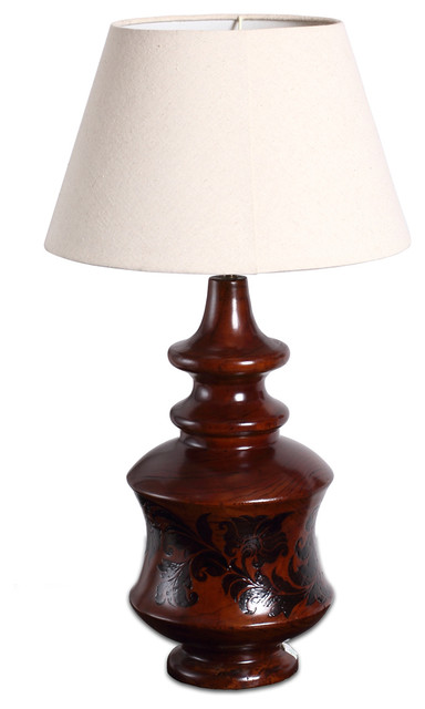 country style vintage finish wooden urn table lamp traditional table. Black Bedroom Furniture Sets. Home Design Ideas