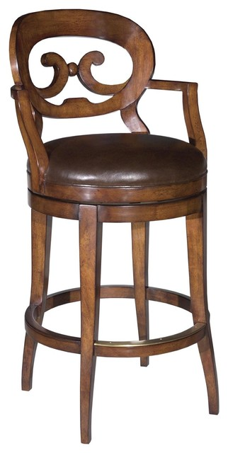 New Swivel Counter Stool With Arms Cocoa Traditional