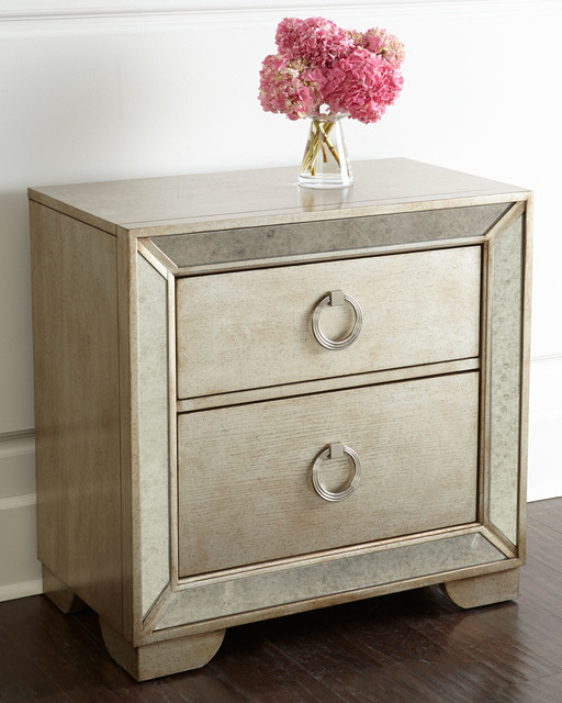 Lombard Nightstand Beige Mirrored Contemporary