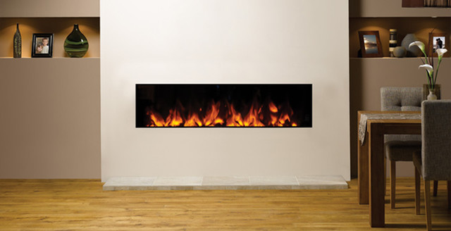 Gazco studio 150 inset electric fireplace - Contemporary fireplace insert for a warm living room ...