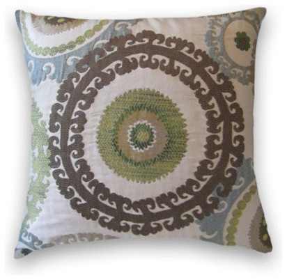 Blue Brown Green Throw Pillows : Blue Brown Green Suzani Throw, - Traditional - Decorative Pillows - by Cody & Cooper Designs