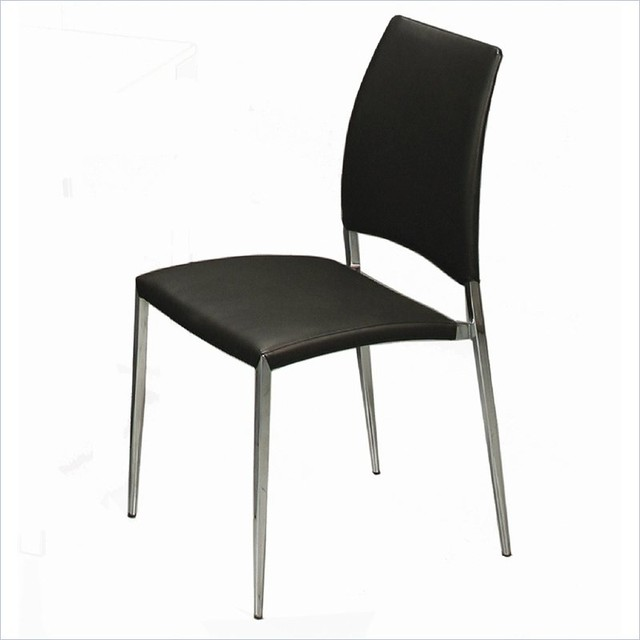 Pastel ferguson side chair chrome pu black for Contemporary black dining chairs