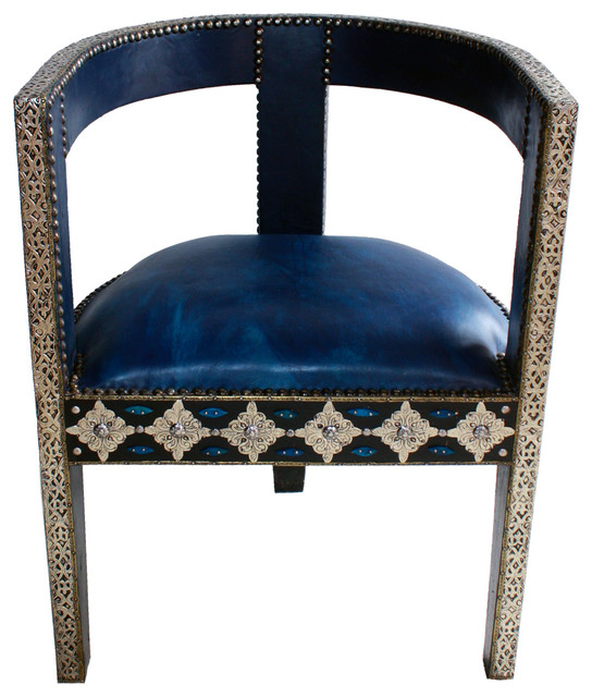 Morracan Accent Chair: Moroccan Leather Chair With Metal And Bone, Blue