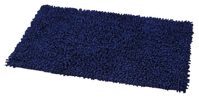shaggy loop bath rug navy blue contemporary bath mats by evideco. Black Bedroom Furniture Sets. Home Design Ideas