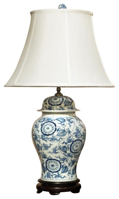 blue and white porcelain ginger jar lamp with silk shade. Black Bedroom Furniture Sets. Home Design Ideas