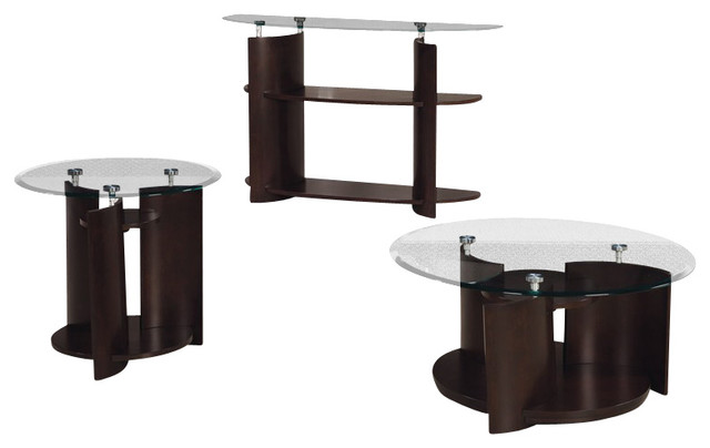 Hammary Apex Round 3 Piece Cocktail Table Set In Dark Cherry Traditional Coffee Table Sets