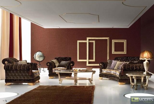 Vercelli classic italian three piece sofa set for Classic traditional living room furniture