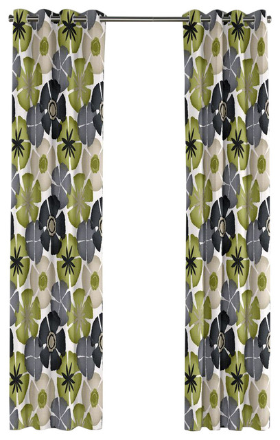 Gray And Green Floral Citrus Grommet Curtain Tropical
