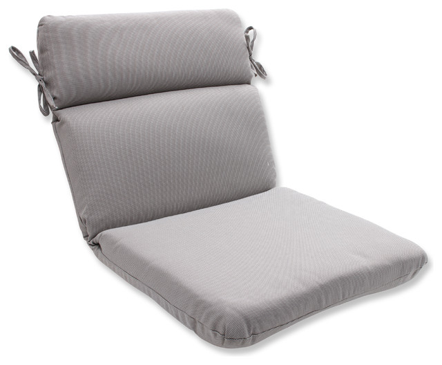 Tweed Gray Rounded Corners Chair Cushion Grey Outdoor