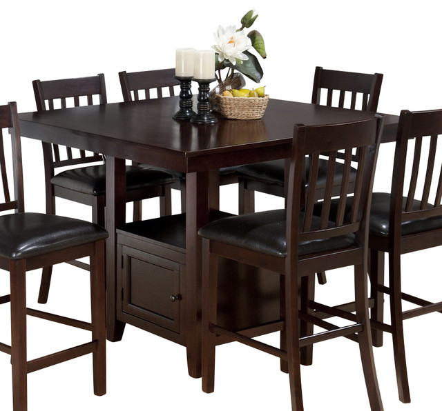 jofran tessa chianti 48 inch square counter height table w   fixed top and storag