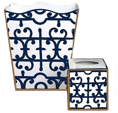 Navy klimt wastebasket and tissue box transitional for Navy bathroom accessory sets