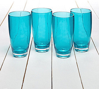 Summer Oasis Zella Cased Highball Drinkware, Turquoise - Contemporary ...