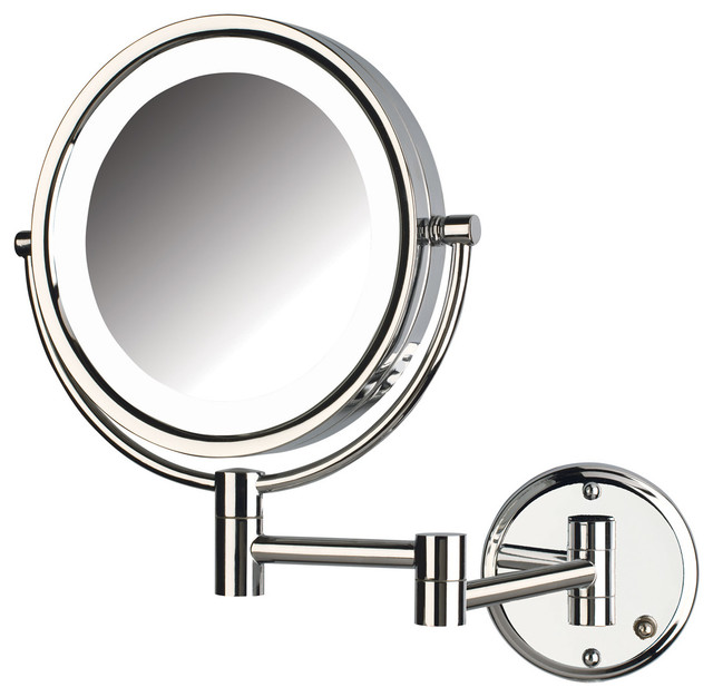 ... Lighted Wall Mount Mirror, Chrome Finish contemporary-makeup-mirrors