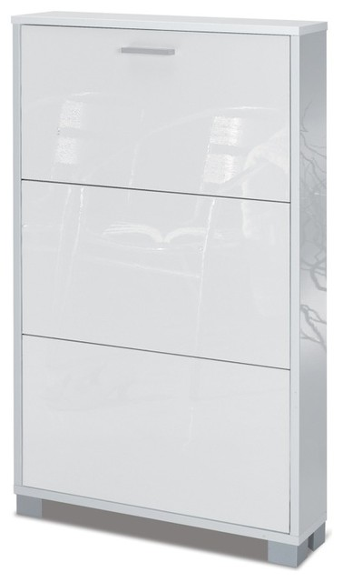 Luxury 3 Door Glossy White Shoe Rack - Contemporary - Shoe Storage - other metro - by TheBathOutlet
