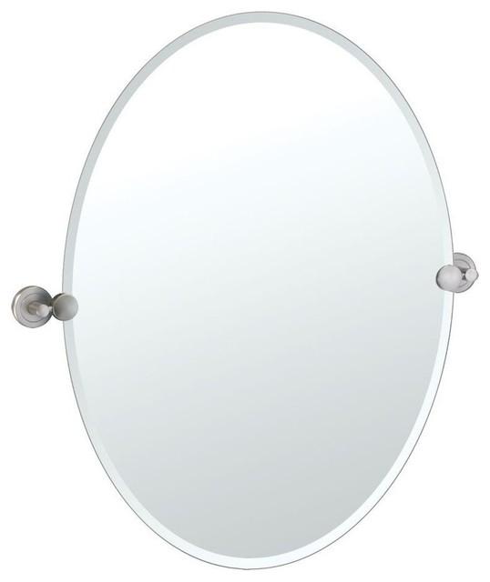 latitude ii beveled oval mirror satin nickel 30 in bathroom v. Black Bedroom Furniture Sets. Home Design Ideas