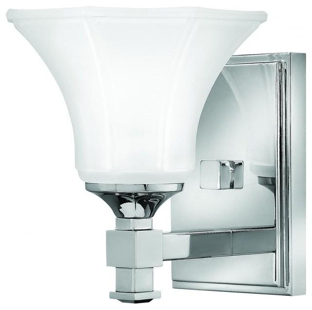 Contemporary Chrome Vanity Lights : Hinkley Abbie 1-Light Chrome Bathroom Sconce - 5850CM - Contemporary - Bathroom Vanity Lighting