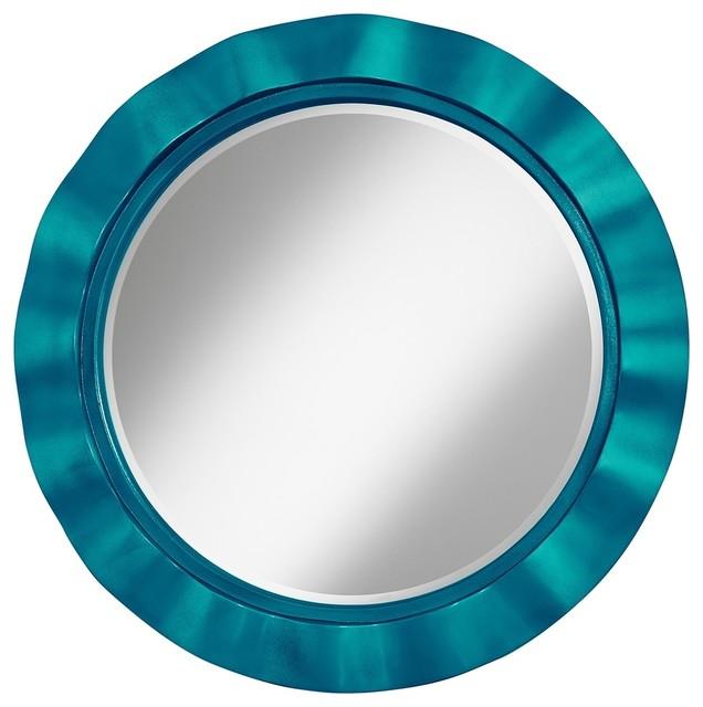 "Turquoise Metallic 32"" Round Brezza Wall Mirror - Contemporary - Mirrors"