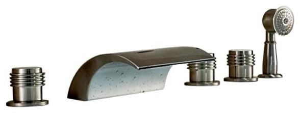Triple Handle Waterfall Roman Bath Tub Faucet With Hand Held Shower Head Co
