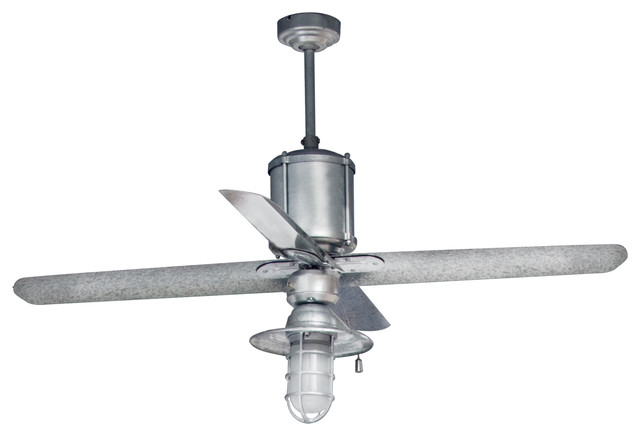 Machine age galvanized ceiling fan industrial ceiling fans by barn light electric company - Industrial style ceiling fan with light ...