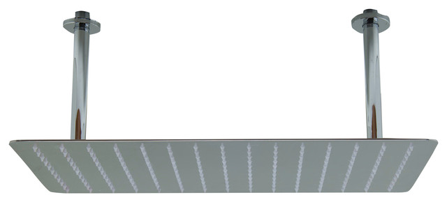 20 Rectangular Polished Solid Stainless Steel Ultra Thin Rain Shower He