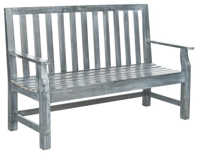 Safavieh Outdoor Living Indaka Ash Grey Acacia Wood Bench Contemporary Ga
