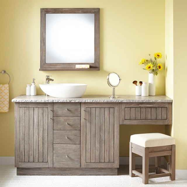 72 Montara Teak Vessel Sink Vanity With Makeup Area Gray Wash Modern Bathroom Vanities