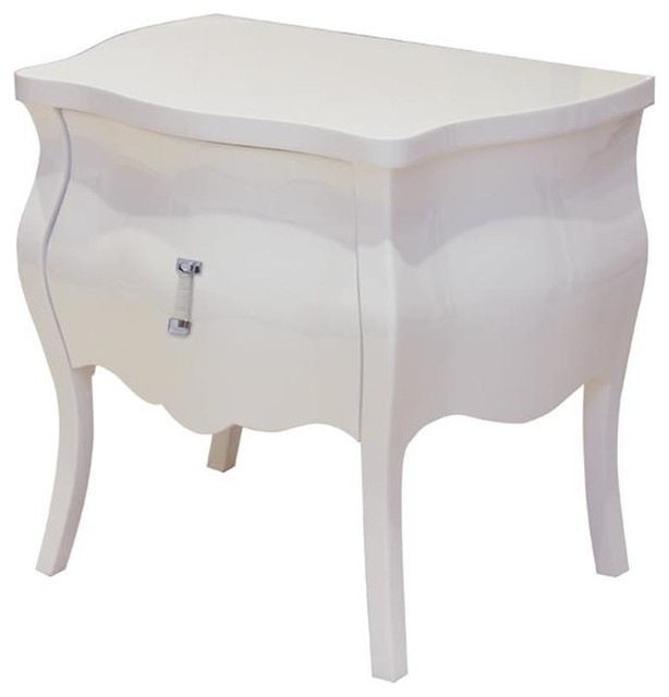 ... Modern Bombe Shape Nightstand In White contemporary-nightstands-and