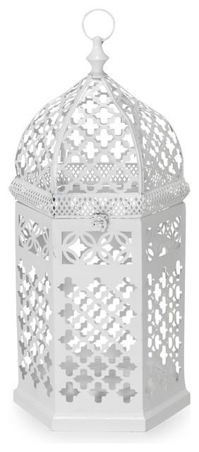 A cha lanterne hexagonale en m tal blanc h72cm - Lanterne exterieure suspendue ...