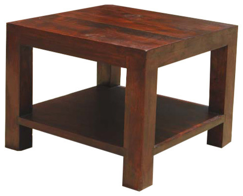 Elegant Wood Square Bottom Shelf Coffee End Side Table Contemporary Nightstands And Bedside