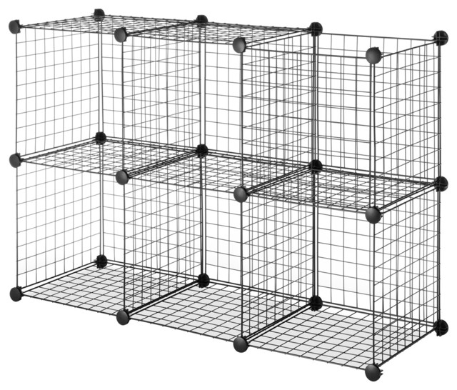 Black Steel Wire Storage Cubes Set Of 6 Contemporary
