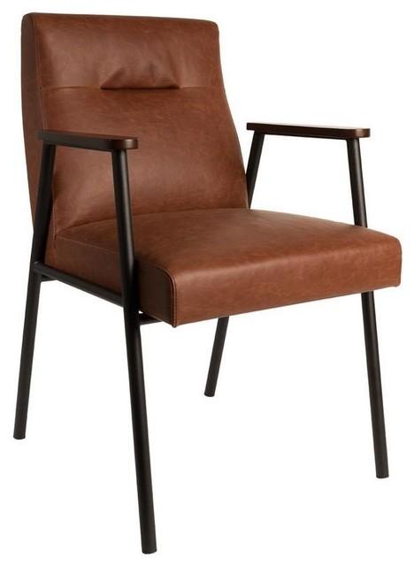 Fauteuil fez de dutchbone simili cuir marron contemporary armchairs - Fauteuil cuir marron vintage ...