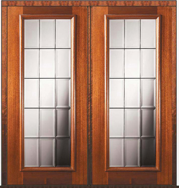 Pre hung double door 80 wood mahogany french full lite for Double hung french patio doors