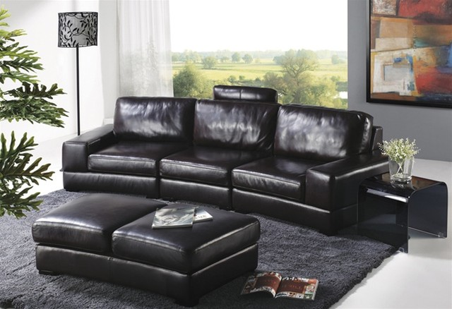 Avandi Black Leather Sofa Set Traditional Living Room Furniture Sets Mi
